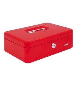 czerwona metalowa kasetka
